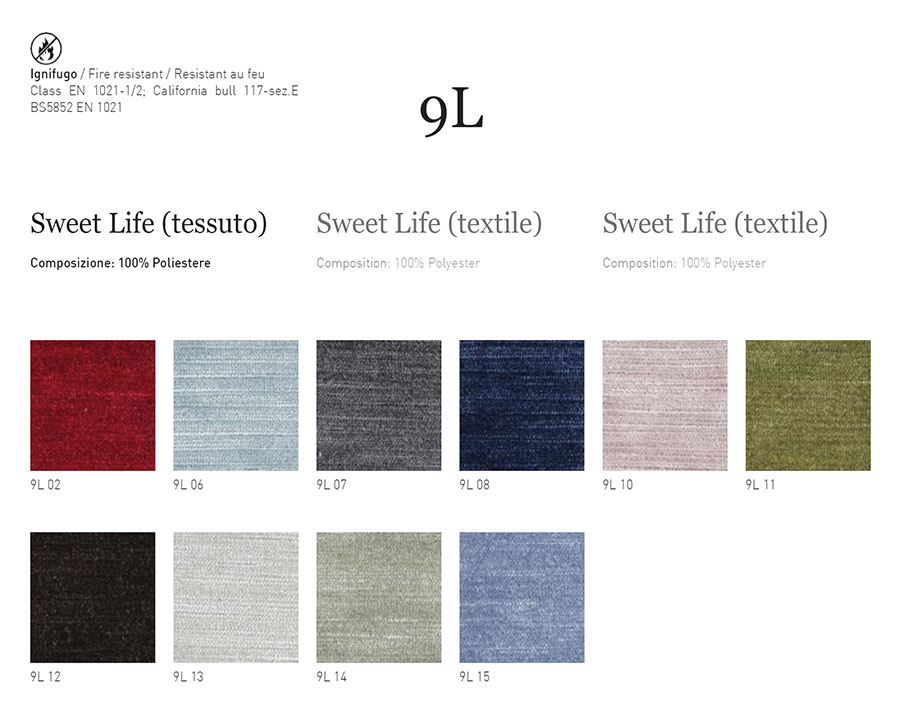 Samples catalogue - Sweet Life textile cat. 9L - 100% Polyester