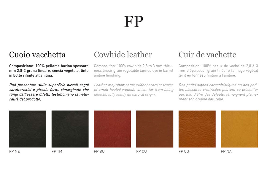Samples catalogue - Cowhide Leather cat. FP - 2,8-3,0 mm