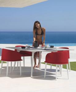 tavolo da pranzo quadrato da esterno giardino made in italy design prezzi arredamento da esterno lusso marco Acerbis alluminio fibra di cemento