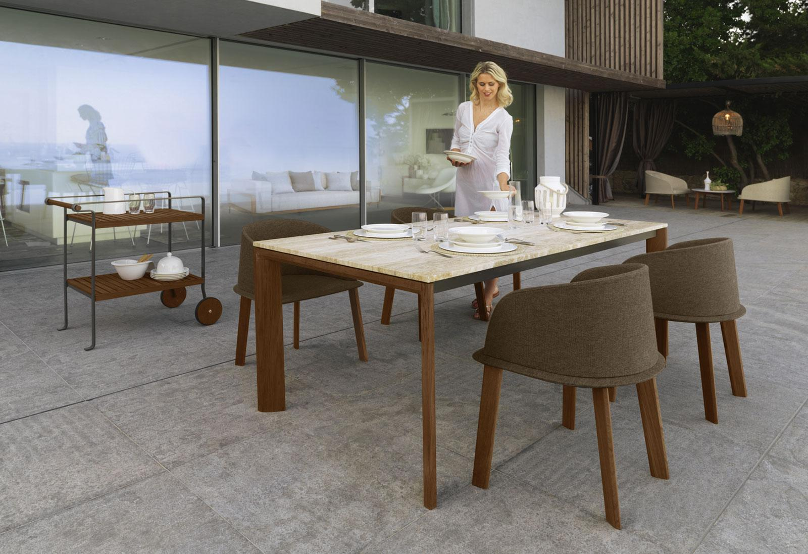 Clariss rectangular outdoor table idd - Table de jardin contemporaine ...