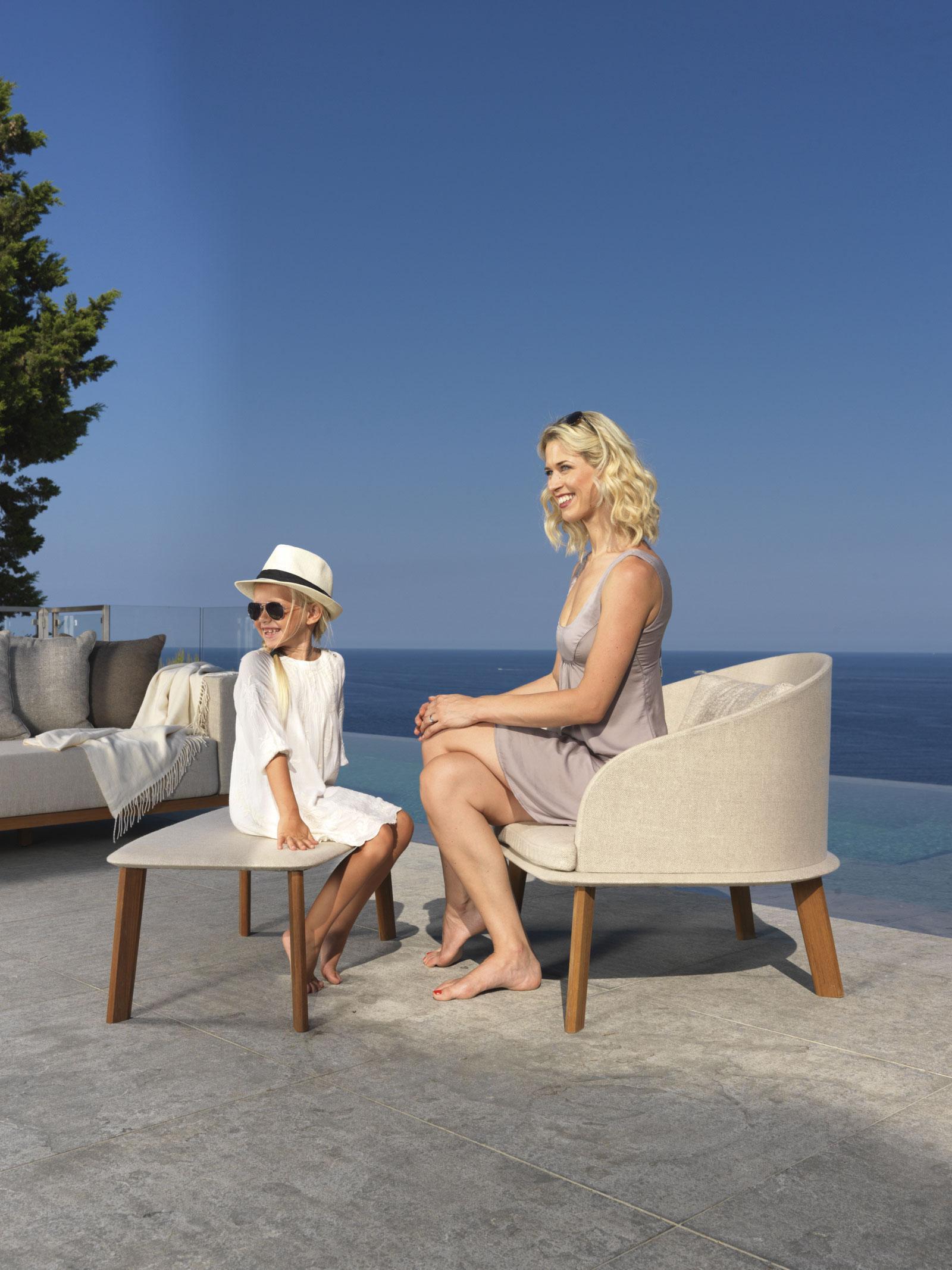 poltrona lounge da esterno giardino made in italy design prezzi arredamento da esterno lusso marco acerbis teak sunbrella