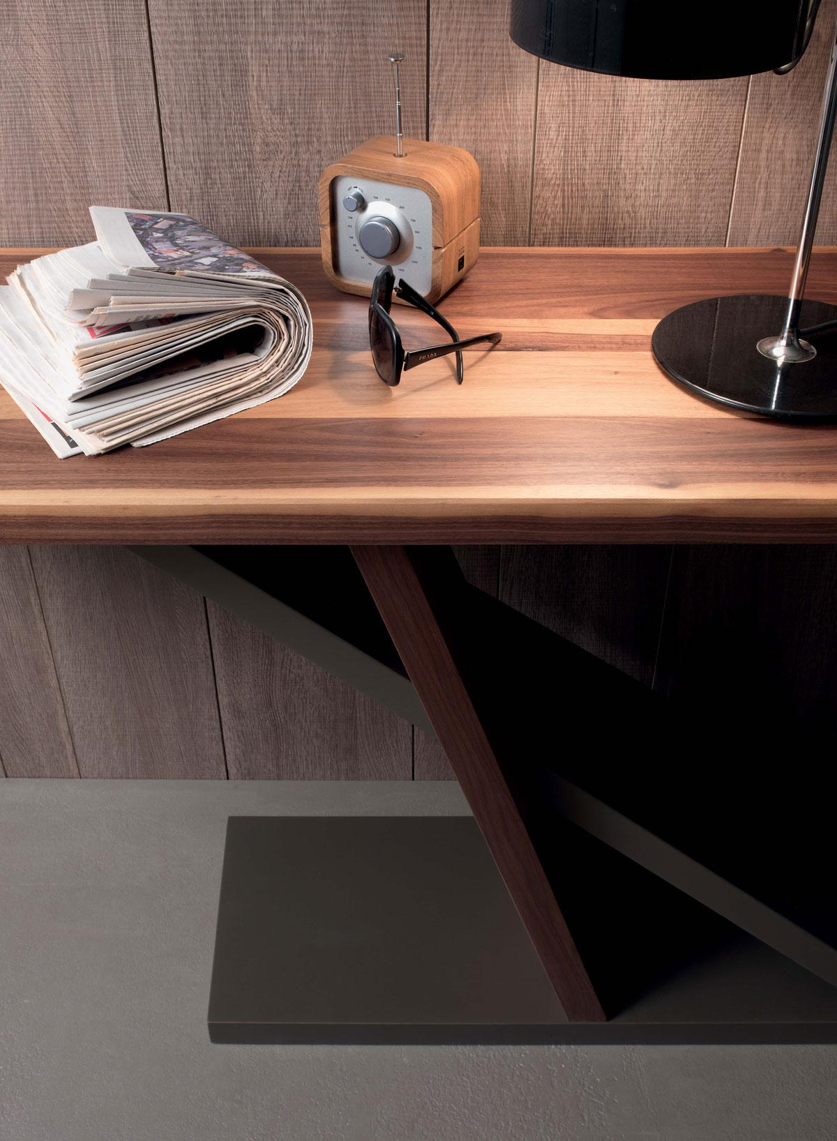 arredamento casa / ufficio on line moderno di lusso 2015 design web made in italy consolle rettangolare noce canaletto metallo contemporaneo