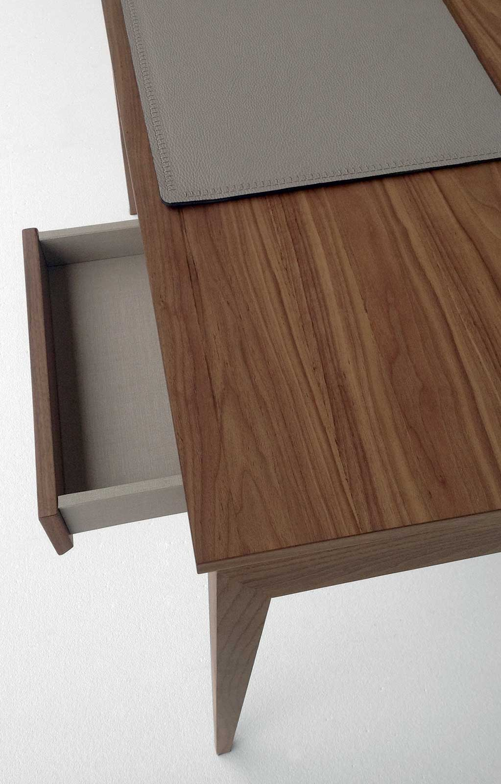 Dad is a personal wood desk that combines design, elegance and functionality. Enjoy a beautiful traditional look with smart features with this home or office desk.
