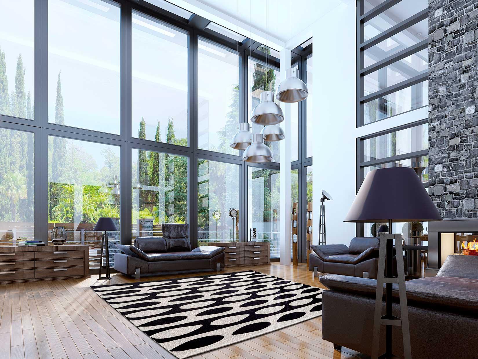 Tappeti bianchi e neri top tappeto soggiorno nero minimis - Tappeto lavabile soggiorno ...