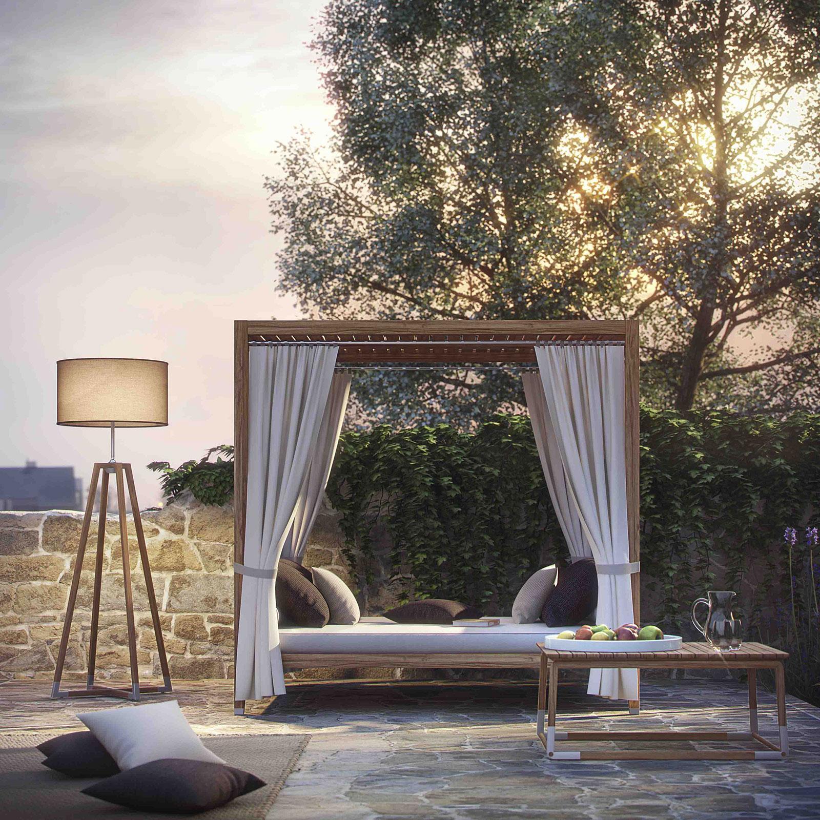 Day bed da esterno in teak. Completo di cuscini decorativi e tendaggi. Baldacchino di grandi dimensioni. Arredamento da giardino in consegna gratuita.