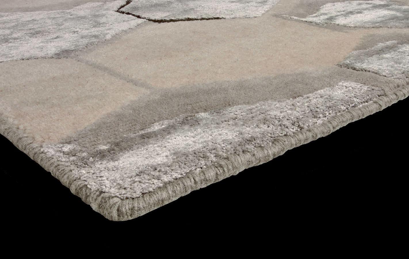 tappeto rettangolare spesso annodato a mano grande geometrico lavabile moderno morbido misura lana texture sabbia