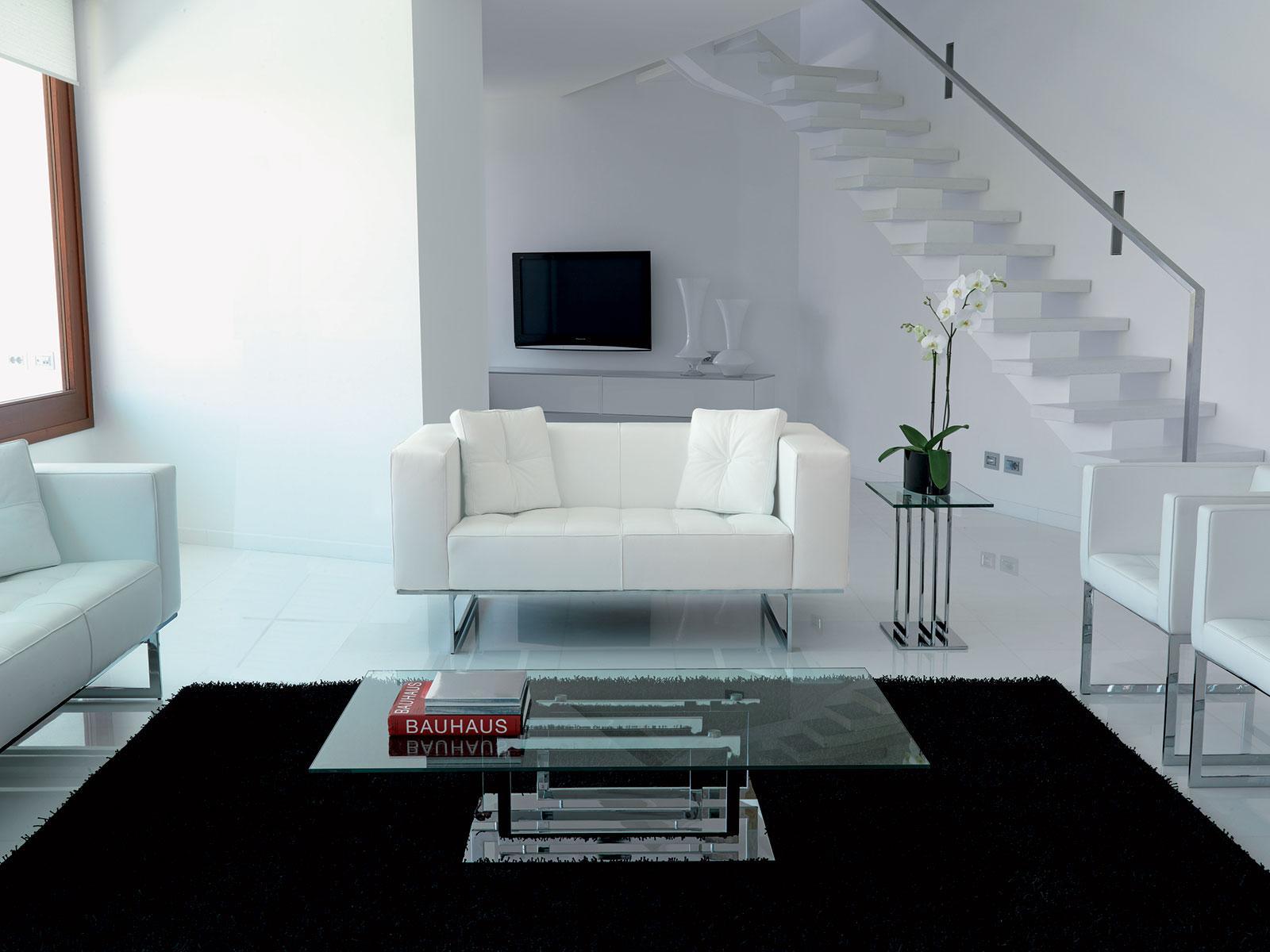 Diplomat divano 2 posti rivestito in pelle - Italy Dream Design