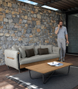 Outdoor coffee table in aluminium and teak. Buy online our design outdoor furniture made in Italy. Coffee table for garden and terrace