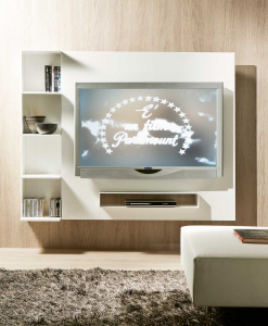 Clever TV cabinet with a hidden storage system. A front shelf houses your decoder. Wood lacquered frame. Design by Bonfanti and Moscatelli. Free delivery.
