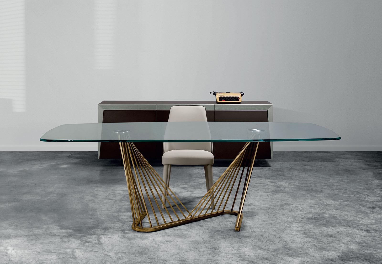 Harp tavolo con piano in vetro a botte - Italy Dream Design