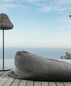 Outdoor pouf for garden and terrace. Outdoor design furniture made in italy. Ropes and quick dry foam. Outdoor lounger.