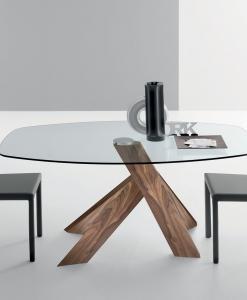arredamento casa / ufficio on line moderno di lusso 2015 design web made in italy tavolo ovale noce canaletto vetro trasparente pranzo contemporaneo fisso