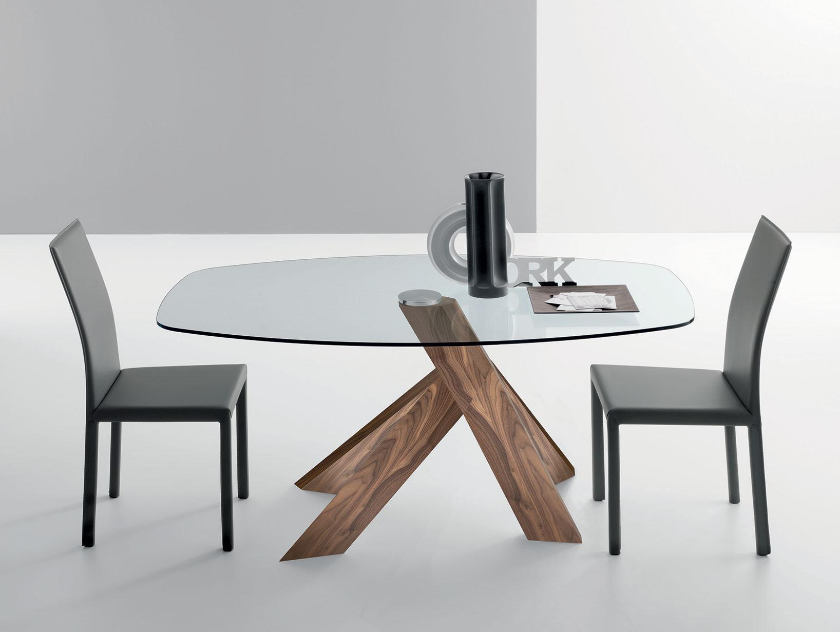 Elipse tavolo ovale fisso in noce canaletto e vetro for Tavolo ovale allungabile vetro