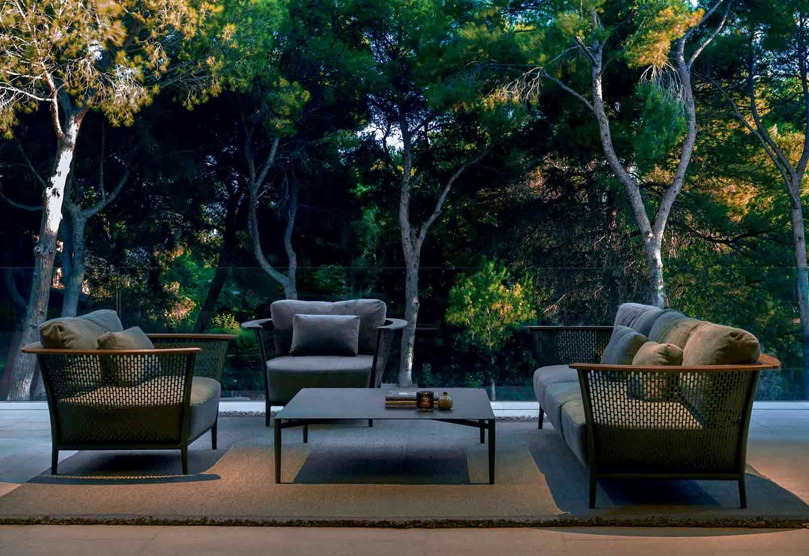 Design Marco Acerbis. Sofa, armchairs and coffee table in aluminium and teak, a luxurious and modern outdoor lounge for garden, yacht, poolside. Free delivery.