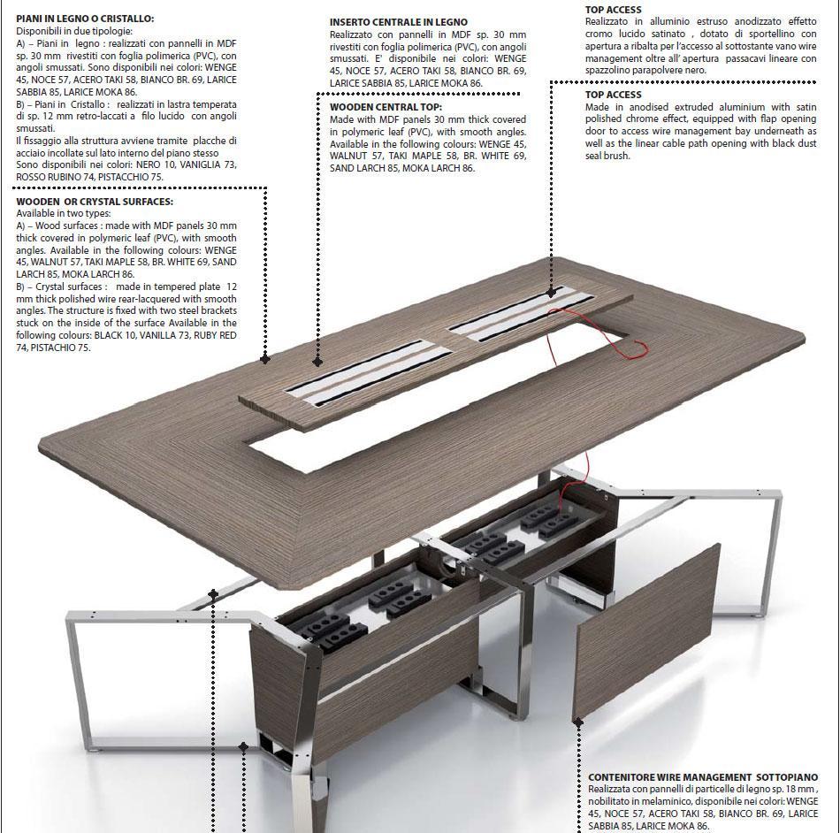 Meet tavolo da riunione in legno e vetro italy dream design - Tavolo grande legno ...