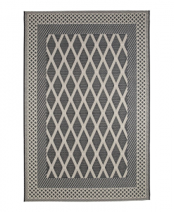 Discover our outdoor rugs' collection. Rectangular 100% polypropylene carpets. Grey shades, modern geometric pattern. Online shopping and free home delivery