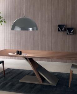 tavolo rettangolare noce canaletto metallo arredamento casa / ufficio on line moderno di lusso 2015 design inspiration web made in italy fisso