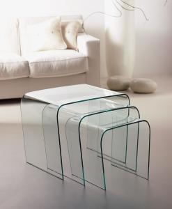 Triade set di 3 tavolini in vetro curvo