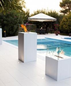 camino bio etanolo bruciatore senza canna fumaria outdoor giardino piscina yacht arredamento made in italy